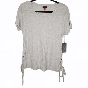 Vince Camuto Heather Grey Side Lace-Up Tee